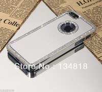Silver Luxury Bling Crystal Diamond Chrome Hard Case For iPhone 5 5G +Stylus free shipping