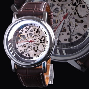 Free HK Post+Box Fashion Male Hours Montre Men Skeleton Automatic Watch SHENHUA Classic Brown Leather Strap Man Mechanical Clock