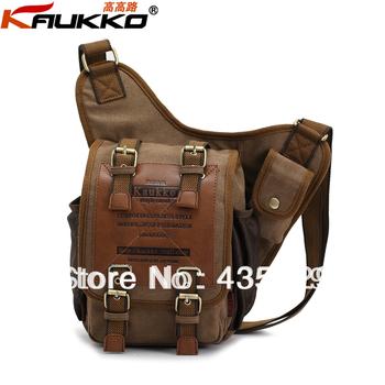 2014 HOT SALE: Kaukko Men fashion Canvas cotton shoulder  messenger bag