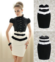 OISK  2014 new fashion Women slim Bow Ruffled  OL business formail Pencil Skirt High waist saias layies tops tee free shipping