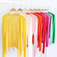 2014 Fashion Women Candy Color Crochet Knit Blouse Sweater Cardigan High Quality Women's Lace Shirt