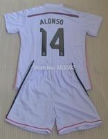 2014 New Real madrid ALONSO #14 home white Thailand quality kids soccer jersey,RONALDO 7 boy football shirt +short free shipping