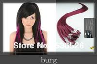 "Cheap remy hair 12""16""18""20""22""24"" loop hair extensions  Loop Ring Human Hair Extensions 1g/strand 100 shares  BUR Burgundy"