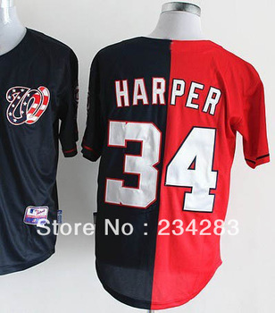 2013 wholesale American Baseball Jersey #34 Bryce Harper Dark blue Red split Baseball Jerseys Men's Embroidery name and number