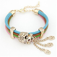 Hot sale Fashion 19cm length personality skull bracelet Multicolor  PU leather multilayer alloy bracelet bracelets for women