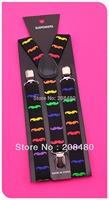 "Free shipping-Hot ""Rainbow Mustache""pattern 1inch/2.5cm wide Suspender Unisex Clip-on Braces Elastic Suspender Y-back Suspenders"