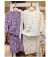 Hot sale 2013 Autumn New Brand European style High quality Jewelry decoration Fashion Knitted dress Woman's Pearl sweater Dress