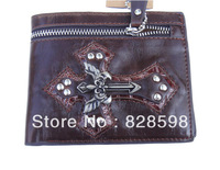 Hot  sale Hip  hop 2013 cross punk rivet sword zipper style male mini genuine leather wallet