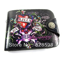 Hot  sale Hip  hop Punk non-mainstream love lovers skull rivet genuine leather short wallet design