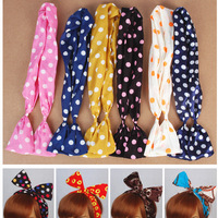 Free Shipping 10pcs/lot Mix Colors Rabbit Bunny Ribbon Hairband Bow Headband Dot Hair Band Leopard Print Hair Accessories A0103