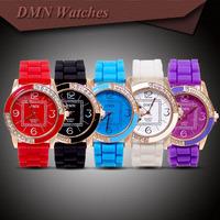 HOT Sale Silicone Rubber Strap Watch Crystal Rhinestone Women Ladies Quartz Dress wrist Watches Wristwatches M-046