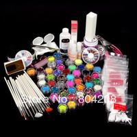 2014 hot Free shipping Professional Primer Glitter Powder Striping Top Coat Tips Brush Glue Nail Art UV Gel Set