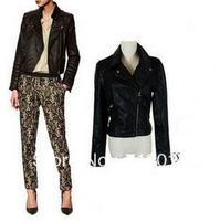 Free shipping 2013 Women Vintage Notched Lapel Punk Rivets Studded PU Faux Leather Motorbike Short Design Slim Jacket