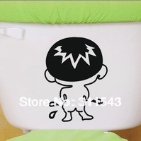 Funny Bathroom Stickers Cartoon Boy Bad kids Toilet Sticker Decal Wall Mural Art Decor 28*22cm Gift TS04  Free shipping