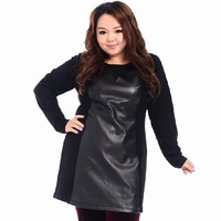 Hitz long paragraph plus size Fashion stitching leather outer dress   Dresses  647#
