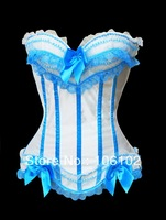 Free Shipping Fashion Satin Overbust Embroidered Corset Bustier Top with G string Set Lingerie S M L XL 2XL 3XL 4XL 5XL 6XL