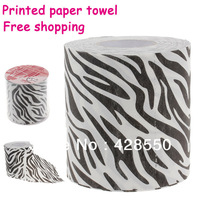 HOT!!! Novelty Zebra Texture Toilet Paper 3-Layer Roll Tissue multicolour table napkin paper printed tissue paper paper napkins