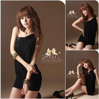 Korean Women Chiffon Summer New Fashion Sleeveless One Shoulder Mini Dress