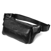 Tidal current male genuine leather small waist pack first layer of cowhide casual cross-body bag chest 3090