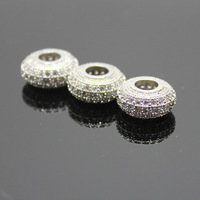 Free Shipping! Boutique Micropave Round-brilliat-shape Beads, Zircon micro inlay Beads, Silver Beads DIY Jewelry Findings