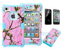 New Silicone Hybrid Camo Tree Hard Case Cover W/Screen Protect for iPhone 4 4G 4S Silicone case A46