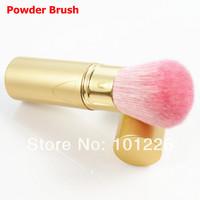 Professional Retractable Makeup Brush Mineral Powder Brush Foundation Blush Brush Golden Aluminum Handle With Pink Goat Hair