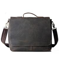 Cattle 2013 handmade vintage crazy horse leather briefcase 15 computer handbag messenger bag 1062