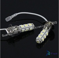 Free shipping 2pcs H3 13 SMD 5050 Pure White Driving Signal Fog 13 LED Car Light Lamp Bulb 12V