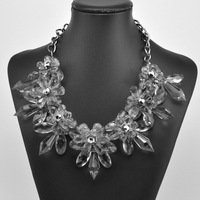 2014 women fashion Crystal acrylic knitting female short clavicle  beads statement necklace items wholesale vintage jewelry sets
