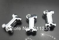 100pcs 8mm one rhinestone dog bone slide charm Fit for Pet Collar Bracelet