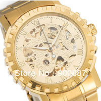 New Design Wholesale Fashion Men's Mechanical Watch Winner Brand Gold Skeleton Automatic Watches High Quality U8021