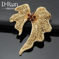 New Arrival free shipping special design gold Crystal Butterfly pins rhinestone brooch for scarf  Ac045