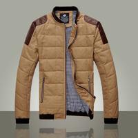 2013 autumn and winter outerwear men's stand collar jacket khaki Men leather jacket slim outerwear knitting rib male