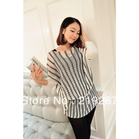 2013 autumn women's black and white color block cutout batwing sleeve jq305 long-sleeve sweater