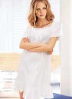 2014 limited seconds kill lace victoria princess nightgown female short-sleeve 100% cotton summer sleepwear  plus size m=xxxl