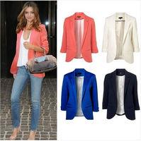Spring 2014 Celebrity Womens High Street Blazer Jacket European Style With 3/4 Sleeve Pink Black Red White Blue
