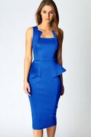 Women Sexy Blue Abi Neck Sleeveless Ruffle Peplum Summer Club Midi Dress Brand Sheath Pencil OL Evening Party Bodycon Dresses