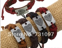 2013 High Fashion men Jewelry Personalized vintage heart alloy cowhide Charm punk leather bracelets & bangles
