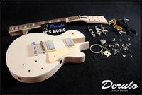 DIY Electric Guitar Kit  Set-In  Solid Mahogany Body Neck Flamed Maple Veneer