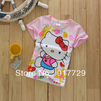 In stock wholesale 1 lot = 5 pieces 2013 new  summer t shirt girls clothing kids clothes cartoon KT hello kitty fast delivery