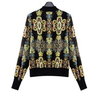 2013 New Women's Jacket Fashion Zipper Long-sleeved Thin Coats Print Chiffon Outerwear Free Shipping