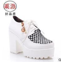 size34-39 2014 fashion women's autumn round toe lace up oxford platform thick high heels lattice korean shoes lady pumps 3017
