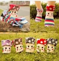 10Pcs=5Pairs=1lot cotton socks Korean mushroom head flange female socks cartoon