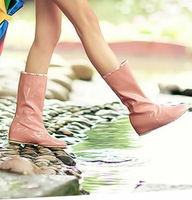 Free shipping Beauty shoes 2013 fashion rain boots japanned leather gaotong female shoes print women's slip-resistant rainboots