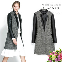 2013 Winter New STAND-UP COLLAR PU LONG SLEEVE leather COAT jacket  Woman's woolen plaid Overcoat free shipping C82