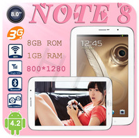 "New Arrive 8""inch Note 8 Quad Core 3G Tablet PC MTK6589 1GB RAM 8GB ROM Android 4.2 GPS BT FM 8MP Camera N5100 Tablet Phone"