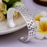B201 Free Shipping Factory Price Wholesale Fashion Jewelry,925 Silver Hollow Heart Bangle for Women