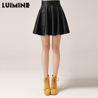 Free Shipping New Women's leather skirt  high waist pleated  pu leather skirt #G355