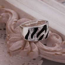 Hot Sell Wholesale Sterling 925 silver ring 925 silver fashion jewelry ring Broadside Multi Zircon Finger