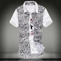 Frees shipping 2014 new summer ,Slim FLOWER color Stripe mosaic short sleeved shirt,cotton fashion shirt ,big size 4XL